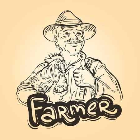 Alegre agricultor con pollo en la mano. ilustración vectorial