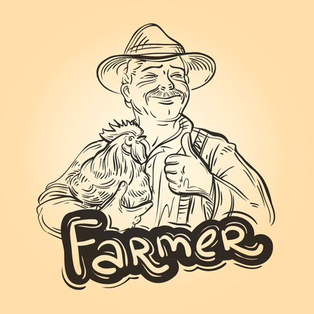 rancher: cheerful farmer with chicken in his hand. vector illustration