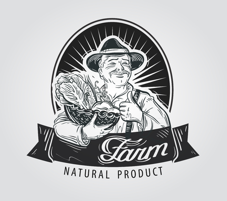 homestead: happy farmer with a basket of fresh vegetables in hand. vector illustration
