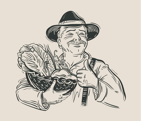 harvest basket: hand-drawn happy farmer and a basket of fresh vegetables. vector illustration Illustration