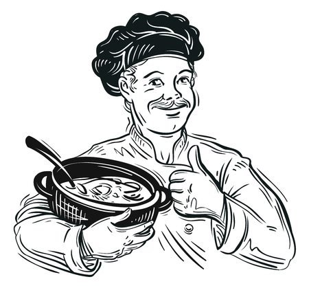 soup pot: hand-drawn chef preparing food in the kitchen. vector illustration