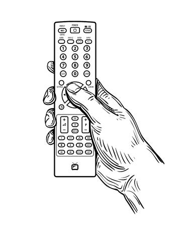 흰색 배경에 고립 된 손으로 그린 TV 원격 제어