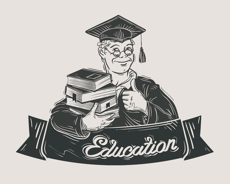 student with books: hand-drawn student with books in hand. sketch. vector illustration Illustration