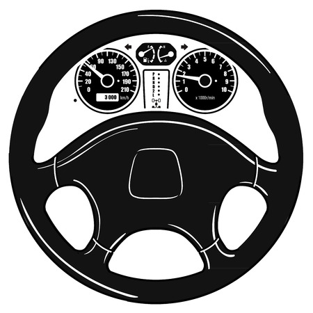 chauffeur: black car wheel isolated on a white background. vector illustration Illustration