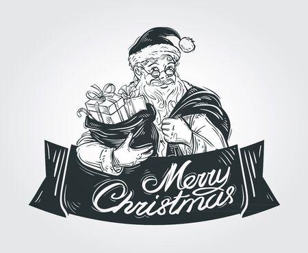 allegro Babbo Natale con sacco di regali di Natale Vettoriali