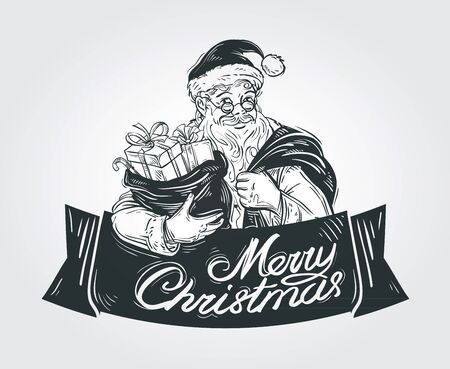 christmassy: merry Santa Claus with sack of Christmas gifts