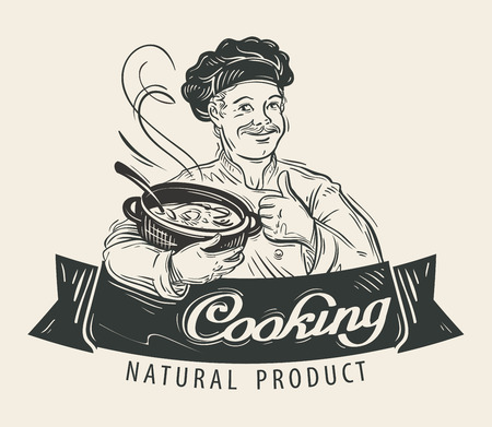 broth: hand-drawn happy chef with pot in his hand. vector illustration Illustration