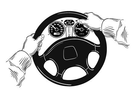 Hand-Auto-Rad gezogen. skizzieren. Vektor-Illustration