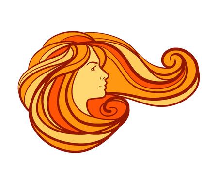 cabello rojo: hermosa chica con el pelo largo en un fondo blanco. ilustraci�n vectorial Vectores