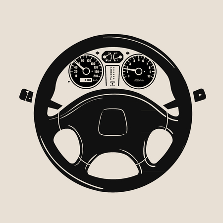 steering: black car wheel and speedometer. vector illustration Illustration