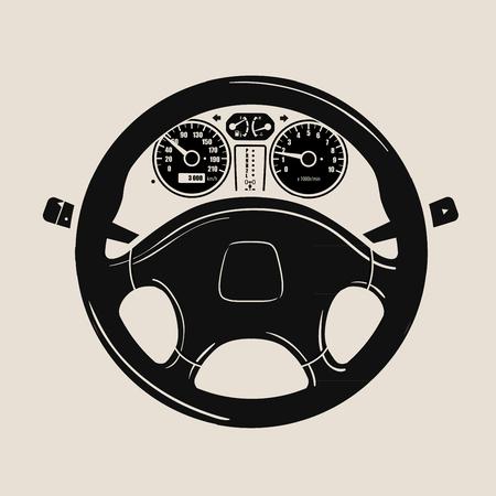 schwarzes Auto Rad und Tachometer. Vektor-Illustration