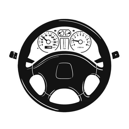 Kierownica samochodu i prędkościomierza na białym tle. ilustracji wektorowych