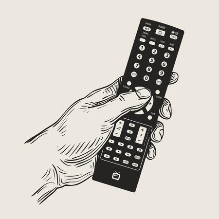 dibujados a mano el control remoto del televisor en la mano. ilustración vectorial
