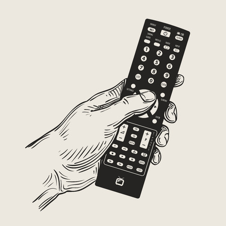 tv unit: hand-drawn TV remote control in your hand. vector illustration Illustration