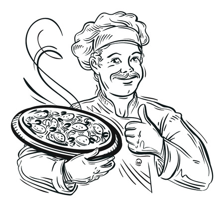 hand-drawn happy chef with pizza in his hand. vector illustration