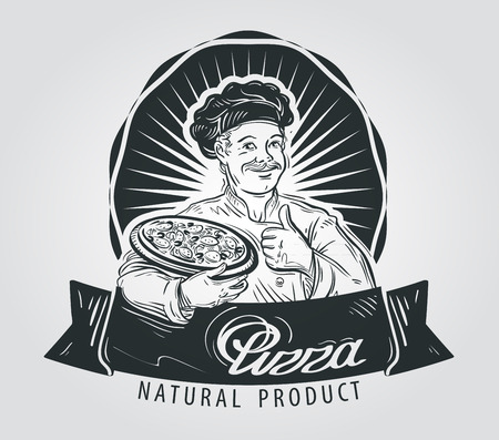 italian food: hand-drawn happy chef with pizza in his hand. vector illustration