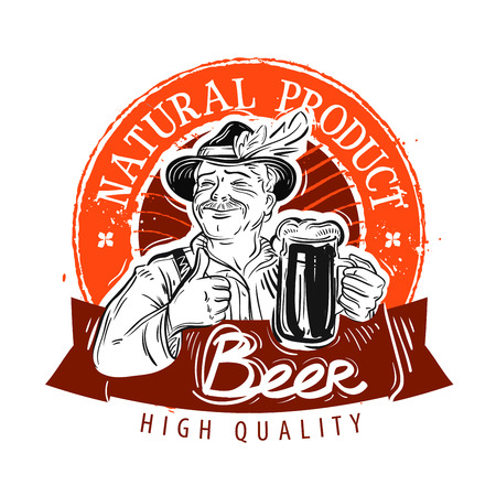 label design: hand-drawn happy man with a mug of fresh beer in his hand. sketch