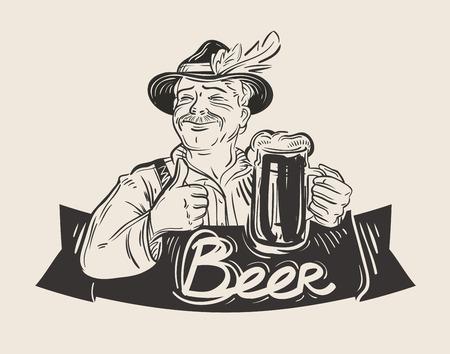 homme joyeux dessiné à la main avec la tasse de bière fraîche Vecteurs