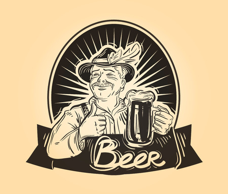 beerhouse: hand-drawn happy man with a beer in his hand. sketch. vector illustration