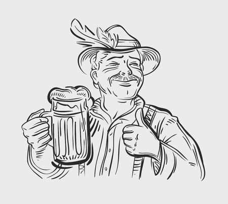 brewer: hand-drawn happy man with a beer in his hand. sketch. vector illustration