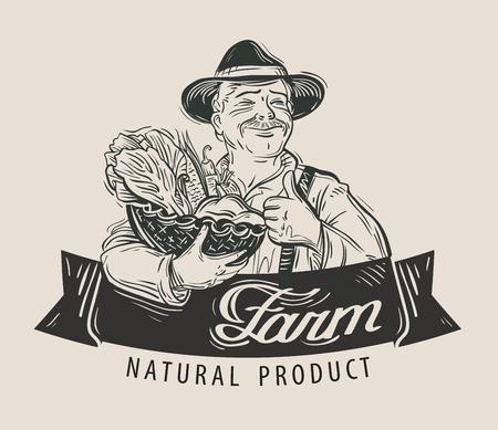 hand-drawn happy farmer with a basket of fresh vegetables in hand Illusztráció