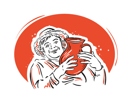 tipple: cheerful woman with wine in hands. vector illustration