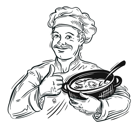 cooking book: happy chef with pan in hand. sketch. vector illustration Illustration