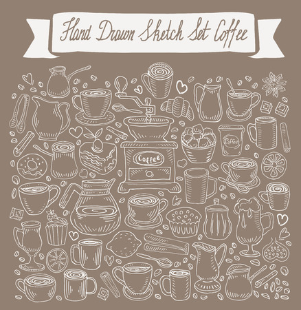 hand-drawn collection of coffee. sketch. vector illustration Illustration