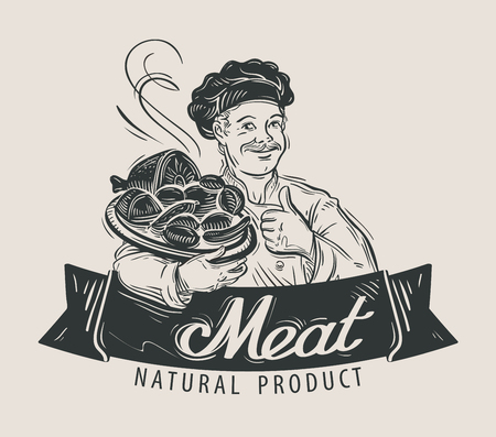 lard: hand-drawn chef and a tray of meat in his hand. vector illustration