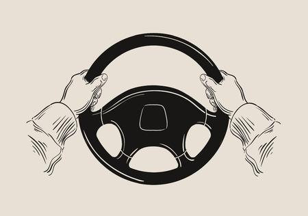 taxista: dibujado a mano la rueda de un coche y el conductor. ilustración vectorial
