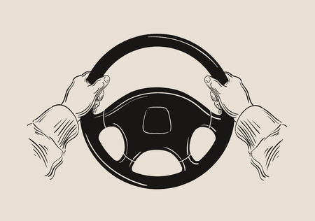 car wheel: hand-drawn wheel of a car and the driver. vector illustration Illustration