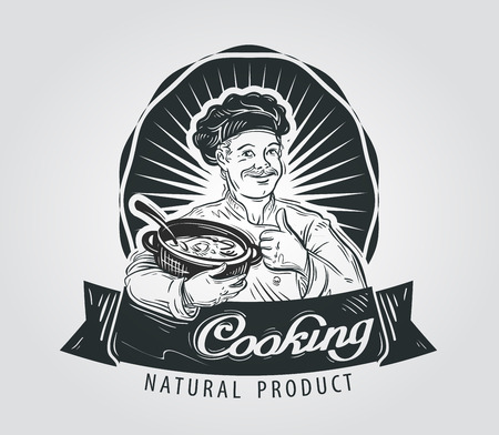 broth: hand-drawn chef with a pot in his hand. vector illustration