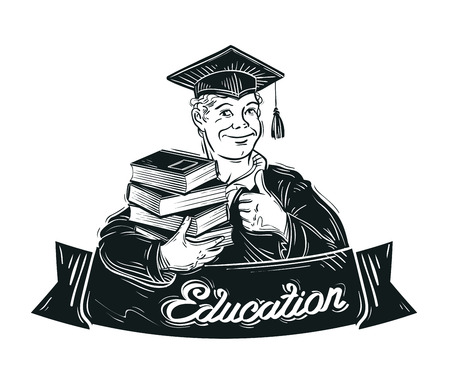 student with books: hand-drawn student with books in hand. vector illustration