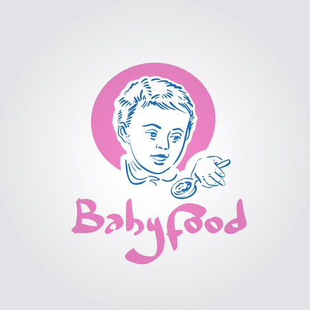 suckling: baby food. child with a spoon in his hand