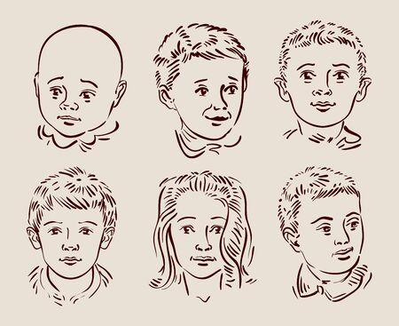 kid drawing: hand-drawn faces of children. sketch. vector illustration