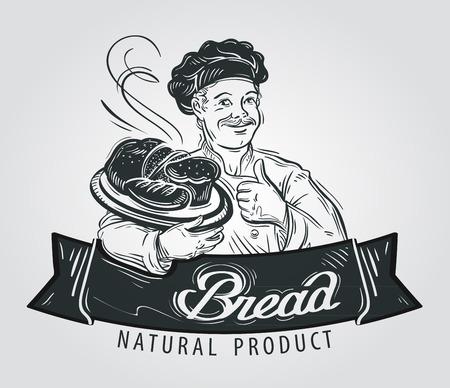 Handgetekende chef-kok met brood in de hand op een witte achtergrond Vector Illustratie
