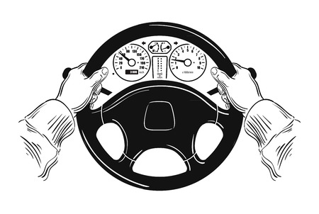 steering: automobile steering wheel and driver hands on white background