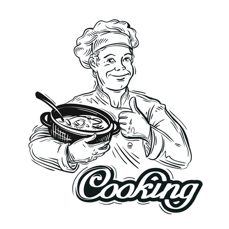 broth: cook with the pan in his hand. vector illustration