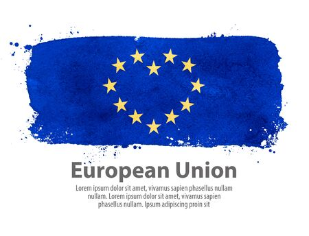 unification: stars in the shape of a heart on the background of the flag of the European Union. vector illustration Illustration
