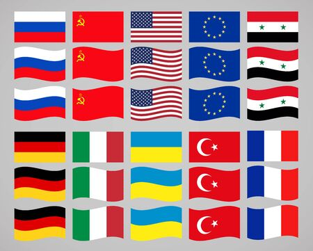 federation: collection of icons on the theme of flags of countries of the world. vector illustration