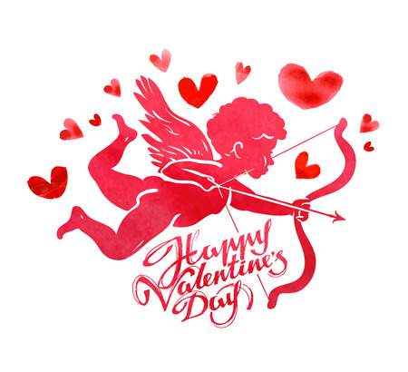 Happy valentines day: flying Cupid with bow and arrow in hand on a white background. vector illustration