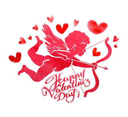 vliegende Cupido met pijl en boog in de hand op een witte achtergrond. vector illustratie Stock Illustratie