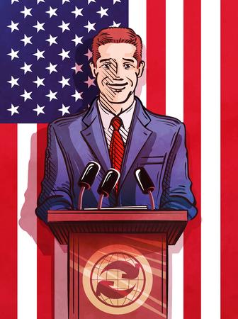 oratory: altavoz detrás del podio en el fondo de la bandera de los Estados Unidos. ilustración vectorial