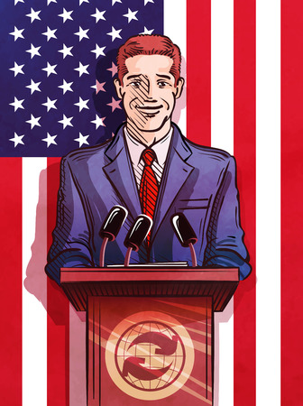 the statesman: speaker behind the podium on the background of the flag of the United States. vector illustration