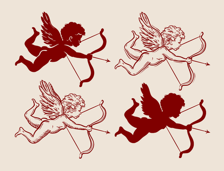 flying Cupid with bow and arrow. vector illustration