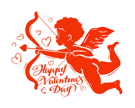 children s art: flying Cupid with bow and arrow on a white background. vector illustration Illustration