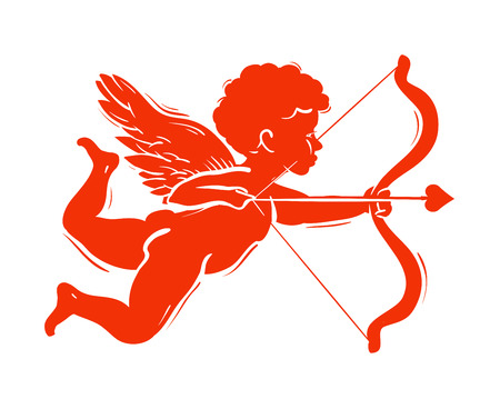amur: flying angel with a bow and arrow on a white background