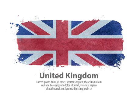hand torn: England flag on a white background. vector illustration