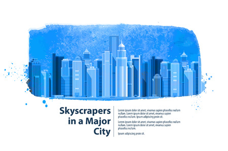 clear sky: modern city on the background of clear sky. vector illustration