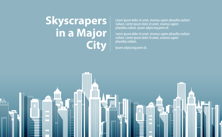 townscape: skyscrapers in a major city. vector illustration